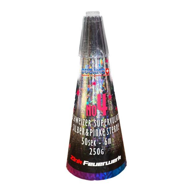 Schweizer Supervulkan No.4 Silber- Pink Leuchtfeuerwerk Vulkane Zink Feuerwerk
