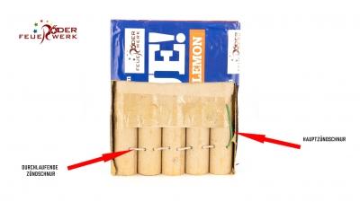 Zündschnur in einer Feuerwerksbatterie