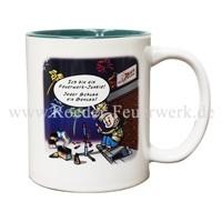 Tasse mit Comic Merchandising Werbemittel Röder Feuerwerk