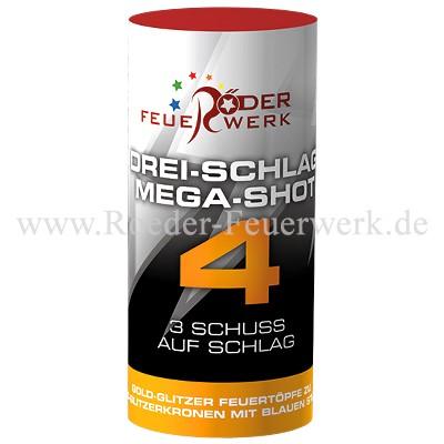 Drei-Schlag Mega-Shot 4 Einzelschuss Bombenrohre Röder Feuerwerk