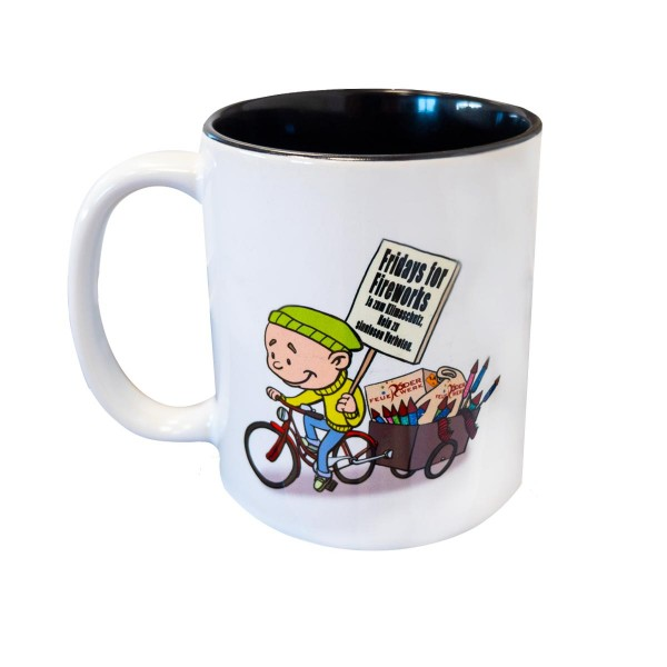 Kaffeetasse mit Comic Werbemittel Röder Feuerwerk