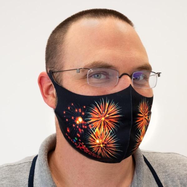 Mund-Nasen-Bedeckung mit Feuerwerks-Aufdruck von Röder Feuerwerk