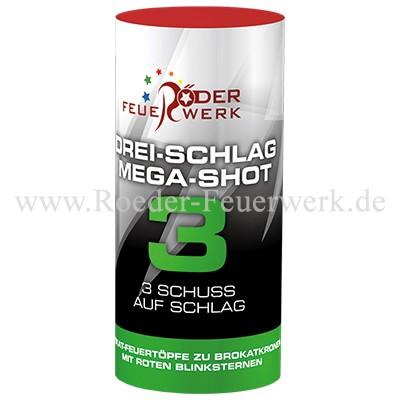 Drei-Schlag Mega-Shot 3 Einzelschuss Bombenrohre Röder Feuerwerk
