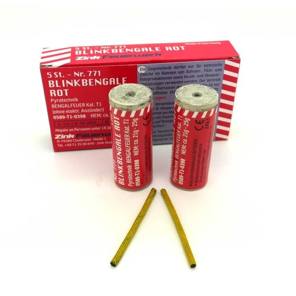 Zink Blinkbengale rot 5er Bühnenfeuerwerk Bengalfeuer Zink Feuerwerk