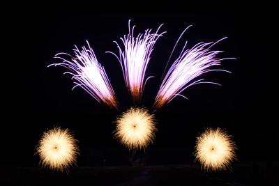 Als Bodeneffekte im Feuerwerk zum Firmenjubiläum dienen in erster Linie Sonnen und Fontänen, sowie Feuerschriften