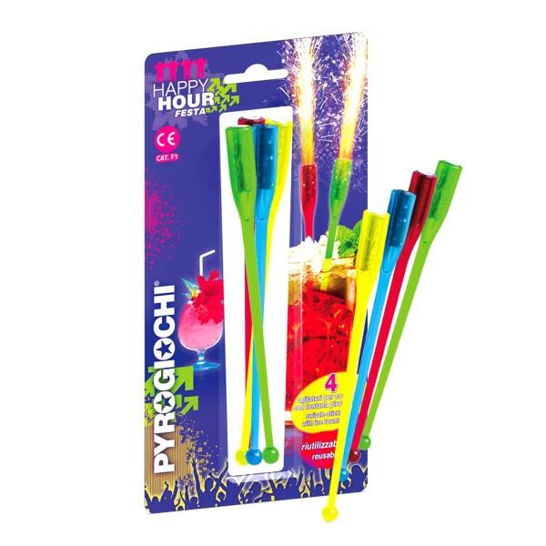 Happy Hour 4er- Set PartyArtikel Fackeln Tisch-Feuerwerk Pyrogiochi